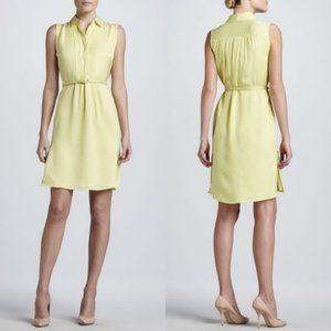 Raoul Yellow Belted Silk Georgette Shirt Dress